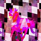 Modern Geometric Colorful Horse with Canvas Texture by Denis Marsili