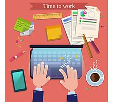 Time to Work. Modern Workplace Top View on Desk with Laptop and Office Accessories.  Photographic Print