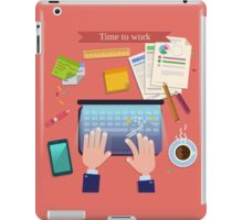 Time to Work. Modern Workplace Top View on Desk with Laptop and Office Accessories.  iPad Case/Skin