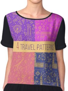 Travel Seamless Patterns Set: London and Paris. Vector backgrounds for decoration Chiffon Top