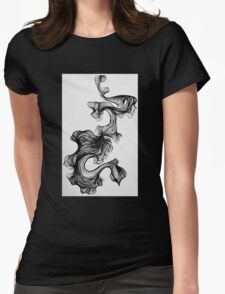 Black paintbrush pen drawing Womens Fitted T-Shirt