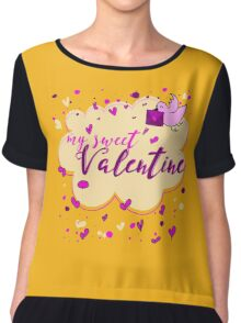 Valentine's Day Greeting Card. Lettering My Sweet Valentine Chiffon Top