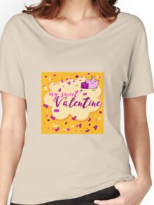 Valentine's Day Greeting Card. Lettering My Sweet Valentine Women's Relaxed Fit T-Shirt
