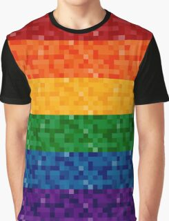 Rainbow Pixel Flag Graphic T-Shirt