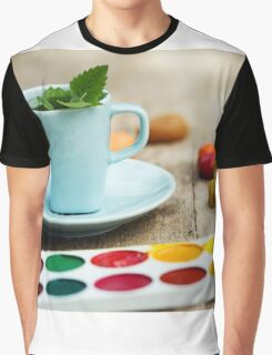 Art Workshop With Watercolor And Crayons. Tea With Mint. Graphic T-Shirt