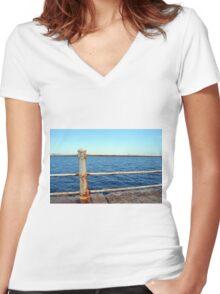 Grunge rusty handrail near the sea promenade. Women's Fitted V-Neck T-Shirt