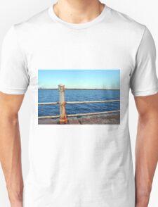 Grunge rusty handrail near the sea promenade. Unisex T-Shirt