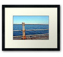 Grunge rusty handrail near the sea promenade. Framed Print