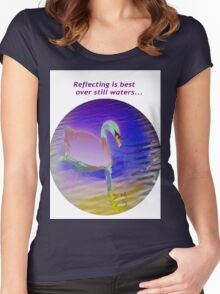Pink swan floating on still waters... Women's Fitted Scoop T-Shirt