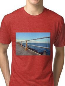 Grunge rusty handrail near the sea promenade. Tri-blend T-Shirt