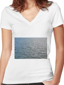 Pattern with the sea. Women's Fitted V-Neck T-Shirt