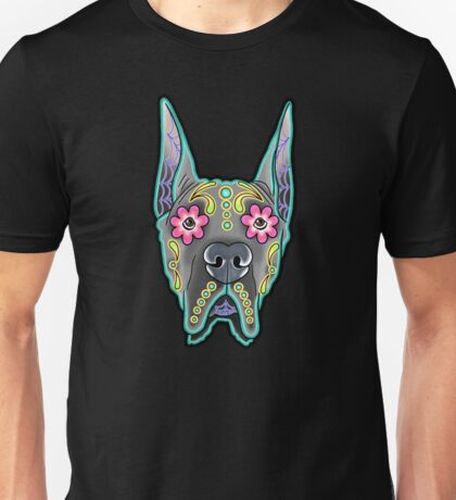 Great Dane - Cropped Ear Edition - Day of the Dead Sugar Skull Dog Unisex T-Shirt