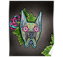 Great Dane - Cropped Ear Edition - Day of the Dead Sugar Skull Dog Poster