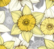 Daffodil Daze - yellow & grey daffodil illustration pattern Sticker