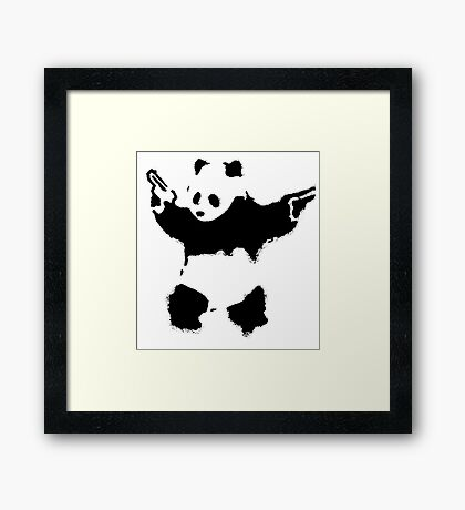 Banksy - Panda With Guns Framed Print