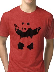 Banksy - Panda With Guns Tri-blend T-Shirt