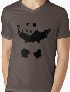 Banksy - Panda With Guns Mens V-Neck T-Shirt