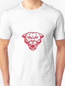 Angry Cougar Mountain Lion Head Retro T-Shirt