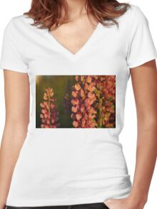 Hot Pink Lupines From My Mother's Garden - Take 2 Women's Fitted V-Neck T-Shirt