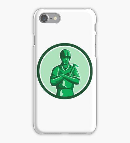 Green Builder Holding Hammer Circle Retro iPhone Case/Skin