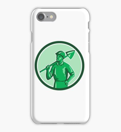 Green Miner Holding Shovel Circle Retro iPhone Case/Skin