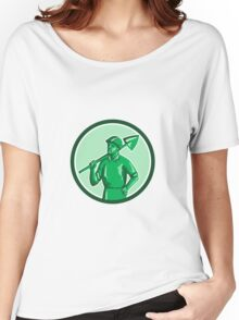 Green Miner Holding Shovel Circle Retro Women's Relaxed Fit T-Shirt