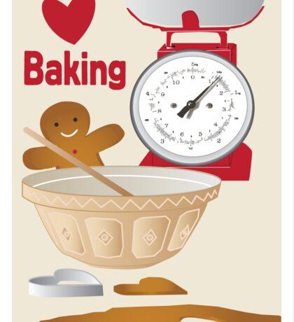 Love Baking Retro Style Poster Sticker