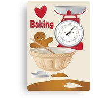 Love Baking Retro Style Poster Canvas Print