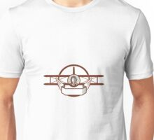 World War 1 Pilot Airman Spad Biplane Circle Retro Unisex T-Shirt