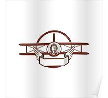 World War 1 Pilot Airman Spad Biplane Circle Retro Poster