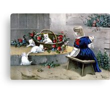Frolicsome pets - 1856 - Currier & Ives Canvas Print