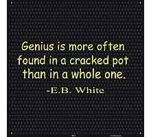 Genius is more often found in a cracked pot than in a whole one. -E.B. White Photographic Print