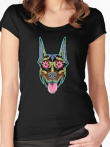 Doberman - Cropped Ear Edition - Day of the Dead Sugar Skull Dog Women's Fitted Scoop T-Shirt