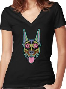 Doberman - Cropped Ear Edition - Day of the Dead Sugar Skull Dog Women's Fitted V-Neck T-Shirt