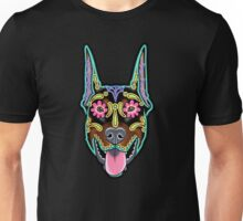 Doberman - Cropped Ear Edition - Day of the Dead Sugar Skull Dog Unisex T-Shirt