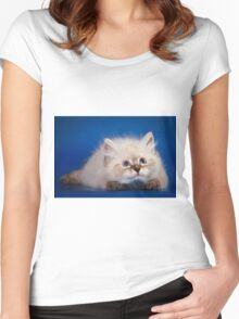 Fluffy charming cute kitty cat Women's Fitted Scoop T-Shirt