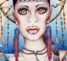 Native Woman Dreamcatcher Drawing Sticker
