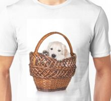Fluffy white puppy dog golden retriever labrador Unisex T-Shirt