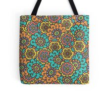 doodle floral colorful pattern Tote Bag