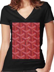 goyard logo Women's Fitted V-Neck T-Shirt