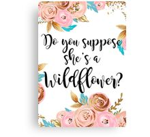 Blush pink and gold wildflower Canvas Print