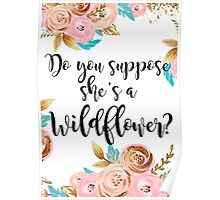 Blush pink and gold wildflower Poster