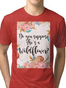 Blush pink and gold wildflower Tri-blend T-Shirt