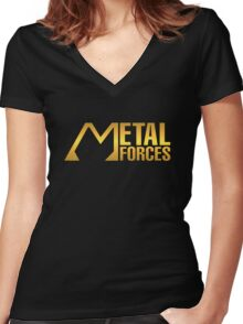 Gold Metal Forces Women's Fitted V-Neck T-Shirt