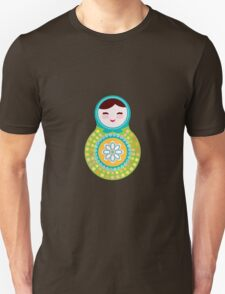 Russian doll matryoshka on white background, green and blue colors T-Shirt