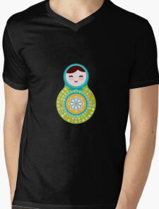 Russian doll matryoshka on white background, green and blue colors Mens V-Neck T-Shirt