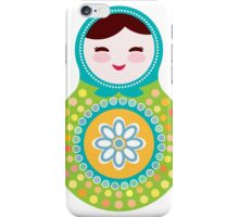 Russian doll matryoshka on white background, green and blue colors iPhone Case/Skin