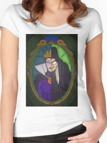 Mirror mirror - stained glass villains Women's Fitted Scoop T-Shirt