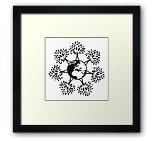 Earth Tree People (black) Framed Print