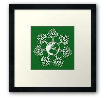 Earth Tree People (white) Framed Print